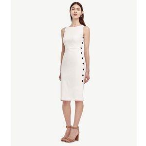 Ann Taylor White Side Button Sleeveless Dress
